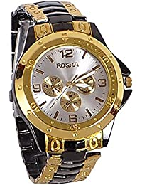 A2Z Deal Silver Dial And Black & Gold Chain Watch For Man And Boys