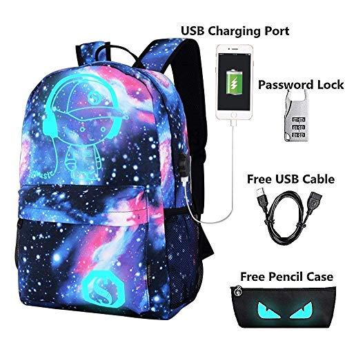 Unisex Anime Cartoon Luminous Rucksack Laptoptasche Rucksack Bookbag mit USB-Ladeanschluss (Rucksack Bookbag)