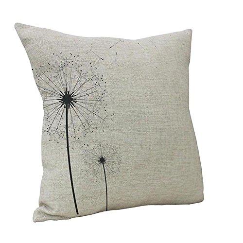 Jotom morbida fodera per cuscino in lino in cotone morbido per divano letto decorativo 45 x 45 cm (dente di leone)