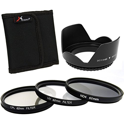 62mm Filtro Kit -- UV Filtri + CPL Filter + ND4 Filtro Neutrale Densità + Lens Hood/ Paraluce + 3-slot Ffiltri Custodia/Borsa/Caso/Carry bag/Case + Lens Cleaning cloth Per Canon EOS 5D Mark 5D2 5D3 6D 7D 70D 60D 700D 650D 1100D 1000D 600D 50D 550D 500D 40D 30D 350D 400D 450D 30D 10D 100D Rebel XS XSi T5i T4i T3i T2i T1i T4 T3 LF283