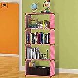 Teabelle DIY Bücherregal Bücher Aufbewahrung Rack 4Gird Multilayer Leicht Ständer Kleiderschrank Rose
