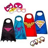 LAEGENDARY Halloween Disfraz de Superhéroes para Niño - Regalos de cumpleaños para niña - 4 Capas y Máscaras - Juguetes para Niños y Niñas - Logo Brillante de Spiderman (Wonder Woman)