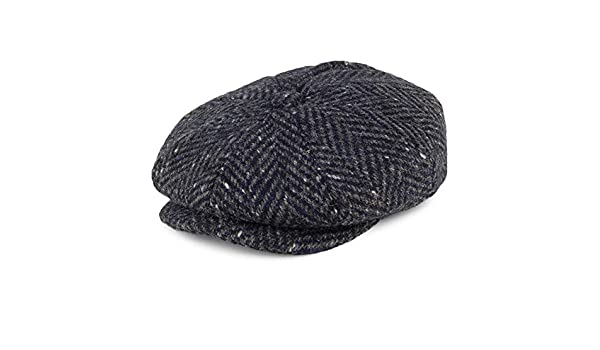 Failsworth Hats Donegal Tweed Mayo Newsboy Cap - Navy-Grey 55   Amazon.co.uk  Clothing 49865ac4074b