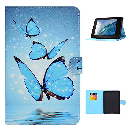Kindle Paperwhite Lederhülle Blau Schmetterlinge, Moon mood® Tablet Tasche für Amazon Kindle Paperwhite 1/2/3 (2012/2013/2014/2015 Version) 6.0 Zoll PU Leder Weich TPU Innere Schlag-Standplatz Auto Wakeup / Untätigkeit Funktion mit - Kindle-version 2 Fall