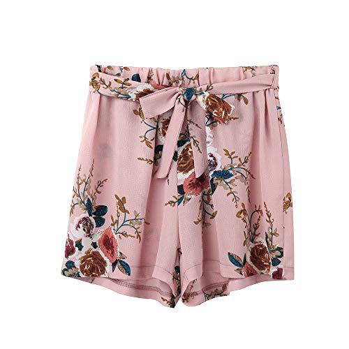 Tanz Drawstring Shorts (Weant Shorts Damen Sommer Kurze Hose Mode Frauen Blumen drucken Bowknot mit Taillenband Lose Strand Sport Hot Pants Bermuda Shorts Sommer Strandshorts mit Taillenband)