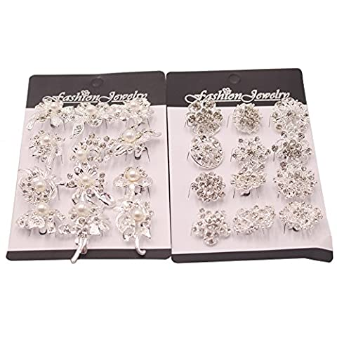 BUWANT 24 Pack Mix Set Flower CRYSTAL Brooch Collar Pin Corsage Kit (24 Pack)