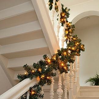 XXL-knstliche-Tannengirlande-Weihnachtsgirlande-Girlande-Tanne-Grn-Deko-Weihnachten-ca-400-cm-mit-96-Warmweiss-LED-Lichterkette-Akkubetrieb