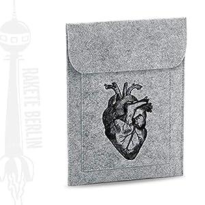Tablet Filzhülle 'anatomisches Herz – gezeichnet'