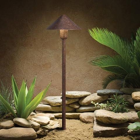 15439TZT Fundamentals 1LT Incandescent/LED Hybrid LV Landscape Path & Spread Light, Textured Tannery Bronze Finish by Kichler Lighting