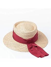 TtKj Señora Paja Sombrero Primavera Verano Arco Anillo Plana al Aire Libre  Playa Viajes Visera Rematada de Sol… c833eb6d495