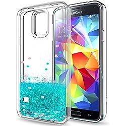 LeYi Coque Galaxy S5 Etui avec Film de Protection écran, Fille Personnalisé Liquide Paillette Transparente 3D Silicone TPU Gel Antichoc Kawaii Housse pour Samsung Galaxy S5 S5 Neo G900 Bleu Ciel