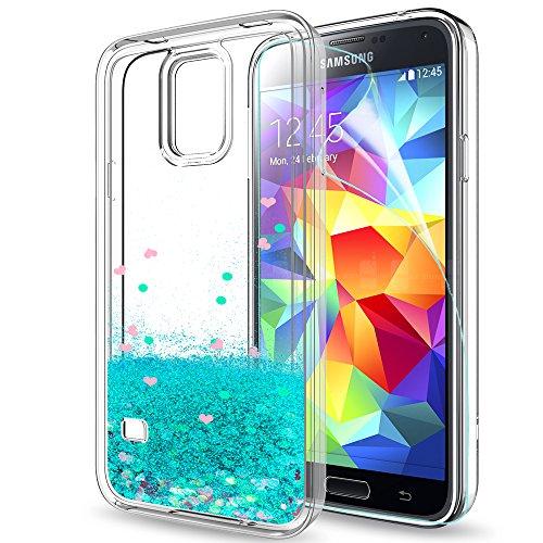 LeYi Hülle Galaxy S5 Glitzer Handyhülle mit HD Folie Schutzfolie,Cover TPU Bumper Silikon Flüssigkeit Treibsand Clear Schutzhülle für Case Samsung Galaxy S5 Handy Hüllen ZX Turquoise (Glas-handy Cover-galaxy S5)