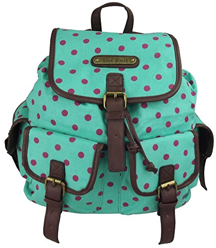 UKFS Blumen Drucken Florence/Polka Dot Rucksack / Twin Tasche-Rucksack (Polka Dot Turqoise) (Punk-polka Dot)