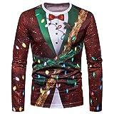 Shujin Herren Herbst Dünne Weihnachtspullover mit 3D Weihnachtsmotiv Druck Christmas Sweatshirt Casual Rundhals Langarmshirt Oberteile Tops