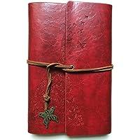 Guwheat Cuaderno retro del diario Cuero de la PU Cubre la libreta espiral del vendaje del espiral con la mariposa A6 del metal (Rojo)