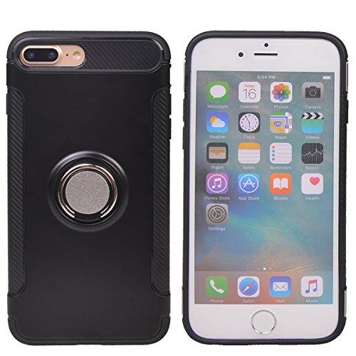 """Coque iPhone 7 Plus (5.5""""),COOLKE Haute qualité Etui Housse Robuste Protection de Double Couche d'Armure 360 Degrés Rotation Ring Holder Stand Protection case cover pour Apple iPhone 7 Plus (5.5"""") - O Noir"""