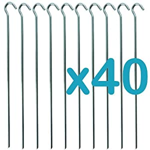 51DGkCph%2BzL. SS300  - Megastore 247 Galvanised Metal Tent Pegs/Hooks for Camping 23cm Pack of 40