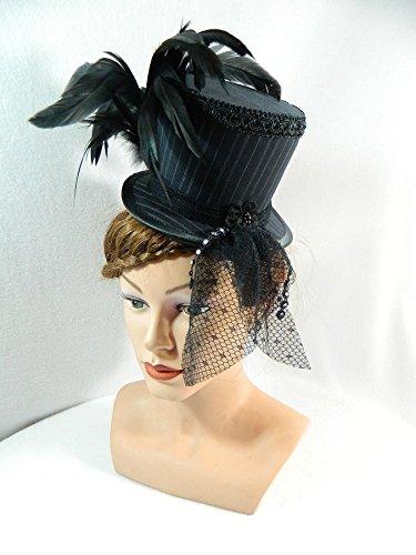 Midi Zylinder schwarz Nadelstreifen Damenhut Fascinator (Kostüm Witwe Schwarze Beerdigung)