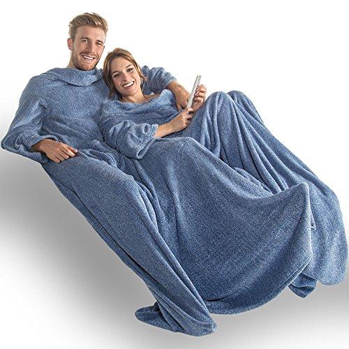 CelinaTex Calgary Kuscheldecke mit Ärmel und Fuß Tasche, blau weiß, XXL 170 x 200 cm 5000014