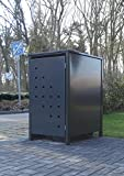 1 Mülltonnenbox Modell No.3 für 240 Liter Mülltonnen / komplett Anthrazit RAL 7016 / witterungsbeständig durch Pulverbeschichtung / mit Klappdeckel und Fronttür