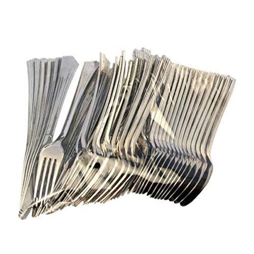 Couteaux métalliques argentés jetables de métal de couverts de coutellerie d'Ardisle 144, cuillères de fourchettes