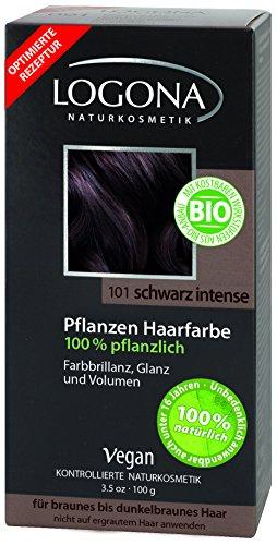 LOGONA Naturkosmetik Coloration Pflanzenhaarfarbe, Pulver - 101 Schwarz Intense - Black, Natürliche...