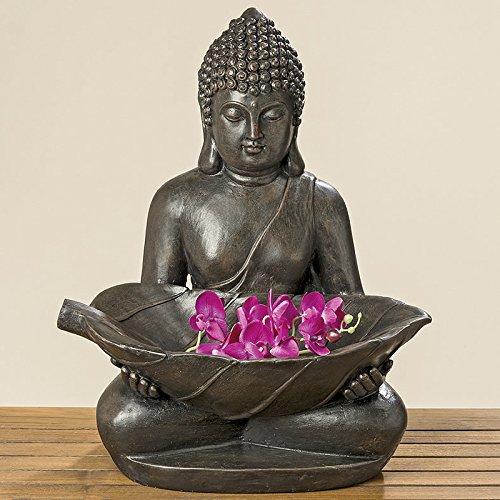 Buddha mit Schale und Orchidee Magnesia Gartenfigur (771390) Gartendeko (Orchidee-statue)