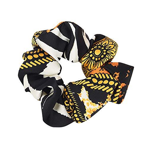 Kette, Seide Krawatte (Stirnbänder Damen Elastisches Haar Seil Ring Krawatte Scrunchie Pferdeschwanz Inhaber Haarband Stirnband Bunte Blumenmuster(Gelb,free))