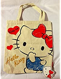 27b469c3a5 Hello Kitty Canvas Tote Bag  Red Sketch By Sanrio