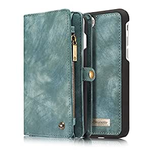 SUNKY - iPhone 7 Plus 5.5 inch Wallet Case, Magnetic Detachable Genuine Leather Flip Folio Purse Pouch Case Cover with Card Slots Pockets for Apple iPhone 7 Plus 5.5 inch - Blue