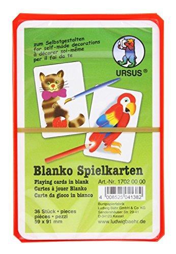 Ursus 17020000 - Blanko-Spielkarten, 36 Karten, unbedruckt, weiß