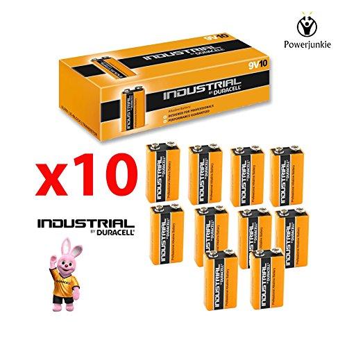 10x Duracell 9V PP3Industrie Procell Batterien, Rauchmelder, LR22Bloc MN1604 -