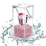 Teabelle Organizador de Cepillos brochas de Maquillaje acrílico Transparente a Prueba de Polvo para cosméticos y Pinceles de acrílico (Incluye 1300Pcs Perlas Rosas)