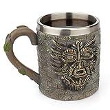 Pawaca Harz-Kaffeetasse aus Edelstahl für Tee, Bier, Trinkbecher, altes Tribal Menschen Pharao Retro Tasse mit Henkel Reise