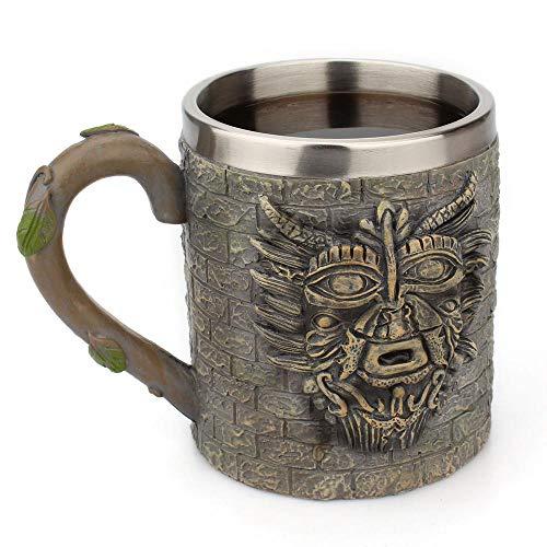Aolvo Harz-Kaffeetasse, personalisierbar, 3D-Prägung, antikes Stammesmenschen, Pharao, Retro-Tasse mit Henkel, Reisen, Mehrzweck-Trinkbecher aus Edelstahl für Milch, Tee, Kaffee, Bier