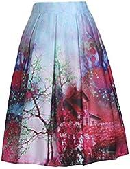 Moollyfox Mujeres Alta Cintura de la Falda Moda Sakura Impreso Patinador Falda con plisado Rojo