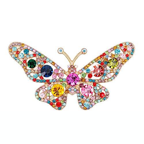 (Trada Schmetterlinge Brosche, Mode Multicolor Crystal Diamond Brosche Retro Kupfer Anstecker Anstecknadeln Geschenk Schmuck für Damen Kleidung Dekoration Mantel Hemd Deko (Mehrfarbig))