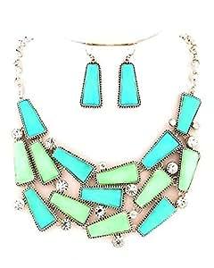 Collier pendentif boucles d'oreilles bijoux de présentation rectangulaires bleu pastel vert menthe 15 cristal transparent