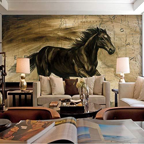wallpapzz Foto Carta da parati 3D Nero Cavallo murale soggiorno divano TV sfondo Muro caffè casa Camera da letto Studio ristorante Carta da parati murale,250x175cm/XL