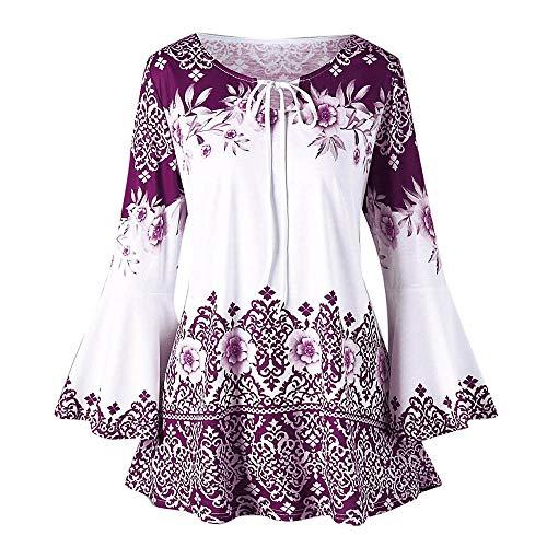 QingJiu Fashion Womens Plus Size Printed Flare Sleeve Tops Blouses Keyhole T-Shirts Übergröße -