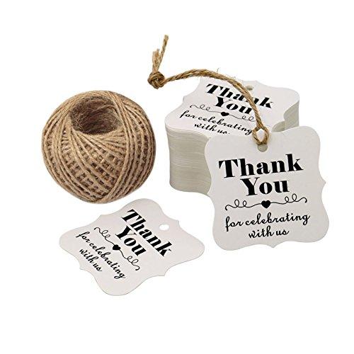 100pz etichette regalo natalizie, 6cm * 6cm etichetta di carta kraft,Thank you for Celebrating marrone da appendere tag con 30meters di iuta spago White