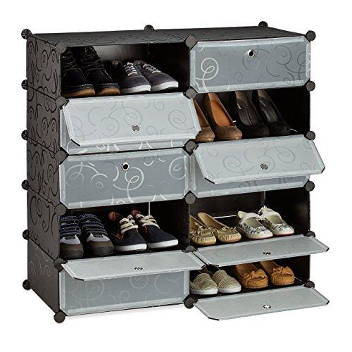 Relaxdays Schuhschrank mit 10 Fächern, Schuhregal groß, Steckregal Kunststoff, DIY, HxBxT ca. 90 x...