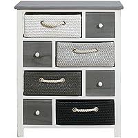 mobili rebecca commode meuble de rangement 8 tiroirs bois osier noir blanc gris vintage retro chambre