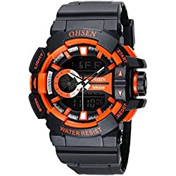 OHSEN Men Women Sport Watch Waterproof Cool Style LED Digital Analog with Alarm Stopwatch Chronograph - Orange