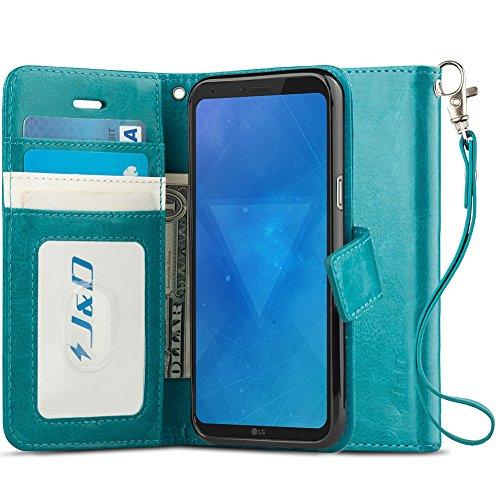 J&D Kompatibel für LG Q6 Leder Hülle, [Handytasche mit Standfuß] [Slim Fit] Robust Stoßfest PU Leder Flip Handyhülle Tasche Hülle für LG Q6 Hülle - Türkis Lg Tasche