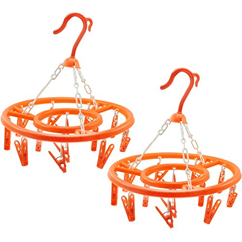 com-four 2X Camping Wäschetrockner, Wäschespinne aus Kunststoff Zum Aufhängen mit jeweils 13 Aufhängeklammern, in Orange, Ø ca. 27 cm (02 Stück - Orange)