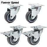 Forever Speed Pack of 450mm Castor Castor Wheel Furniture Castors 200kg No Plate Brake