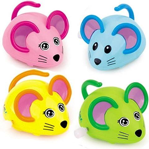 German-Trendseller ® 4 x souris à remonter┃jouet mécanique┃ petit cadeau┃ l'anniversaire d'enfant┃ idée cadeau┃