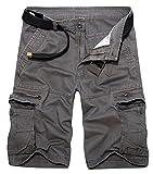 Panegy Outdoor Sport Herren Kurze Hose Multi-Tasche Cargo Shorts Baumwolle Atmungsaktive Bermuda Arbeitshose Jogginghose Freizeithose