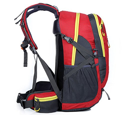 Sfeibo escursioni zaino Outdoor sport ciclismo Climming zaino Fashion Printing 40l nylon impermeabile borsa da viaggio Fit di 39,6 cm, Orange Red